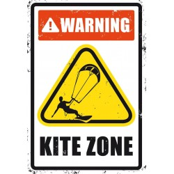 PLAQUES METAL SURFPISTOL WARNING KITE ZONE